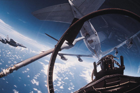 View from the air out of cockpit of fighter jet